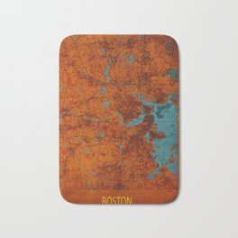 Boston 1893 old map, blue and orange artwork, cartography Bath Mat