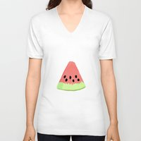 watermelon V-neck T-shirts featuring Watermelon by adovemore