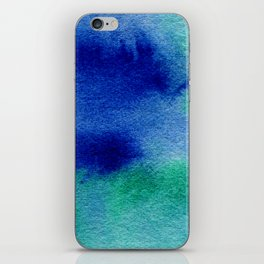 Bright Blue Green Watercolor Painting Wash Hippy Haze iPhone Skin