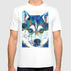 Colorful Husky Dog Art by Sharon Cummings White Mens Fitted Tee MEDIUM