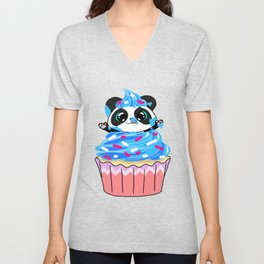 A Panda Popping out of a Cupcake Unisex V-Neck