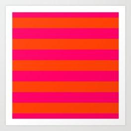 Bright Neon Pink and Orange Horizontal Cabana Tent Stripes Art Print
