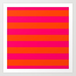 Bright Neon Pink and Orange Horizontal Cabana Tent Stripes Art Print