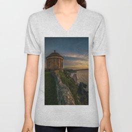 Mussenden Temple,Castle rock,Ireland,Northern Ireland,Antrim Coast Unisex V-Neck
