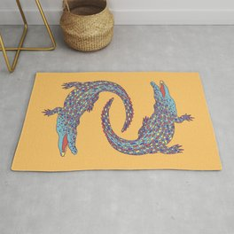 Crocodiles (Camel and Blue Palette) Rug