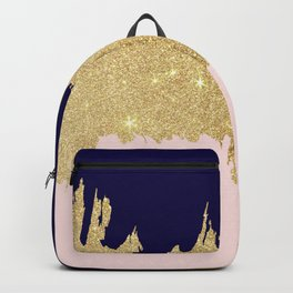 Modern navy blue blush pink gold glitter brushstrokes Backpack
