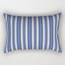 Blue and Cream Stripes Rectangular Pillow