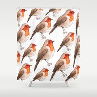 robin Shower Curtains featuring Robin by Lore Illustration