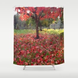 Oil crayon illustration of a red maple tree in the Boston Public Garden Shower Curtain
