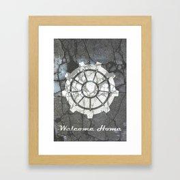 Fallout inspired welcome home, vault door, print, poster, wall art, neutral Framed Art Print