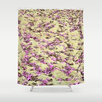 rug Shower Curtains featuring Flowers Rug by Lia Bernini
