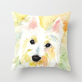 White Terrier Throw Pillow