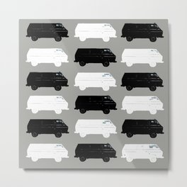 Westfalia Repeating Black and White Image Painted Photograph Pop-At Metal Print