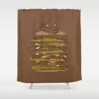 hamburger Shower Curtains featuring Godzilla vs Hamburger by Sarinya  Withaya
