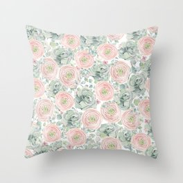 Flowers And Succulents White  #buyart #decor #society6 Throw Pillow