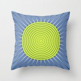 Modern Geometric Sunburst, Lime and Denim Blue Throw Pillow