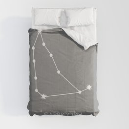 CAPRICORN (WHITE-GREY STAR SIGN) Comforters