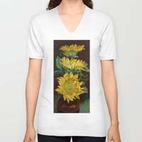 sunflowers V-neck T-shirts featuring Sunflowers by Michael Creese
