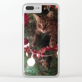 Cat in tree Photoshop effect Clear iPhone Case