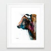bull Framed Art Prints featuring Bull by Slaveika Aladjova