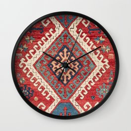 White Hooked Diamond // 19th Century Authentic Simple Colorful Aztec Accent Pattern Wall Clock