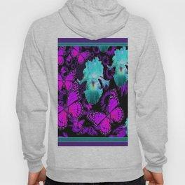 Purple Butterflies & Teal-aqua Iris Hoody
