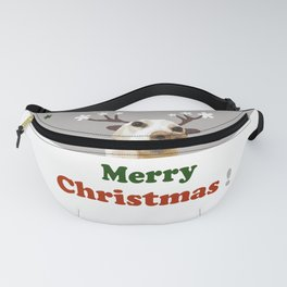 Merry Christmas Deer dog, tan, green, red, holidays, snow, Xmas , society6. Fanny Pack
