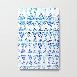 Tie Dye Indigo blue, surface texture, greek pattern, diamonds, watercolor Metal Print