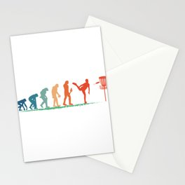 Retro Vintage Evolution For Sporty Players Of Disk Golf T-shirt Design Sports Hit Passion Hobby Stationery Cards