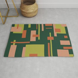 Cityscape Mid-Century Modern Abstract in Coral and Green Rug
