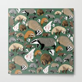 Eurasian badgers pattern Green Metal Print
