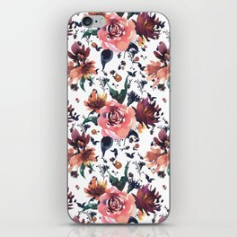 Hand painted coral burgundy watercolor roses floral pattern iPhone Skin