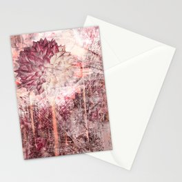 Mauve Grunge Flower Stationery Cards