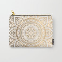 Gold Mandala Pattern Illustration With White Shimmer Carry-All Pouch