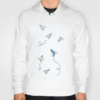 planes Hoodies featuring Paper Planes by Svitlana M