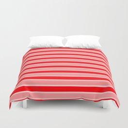 Large Horizontal Christmas Holiday Red Velvet and White Bed Stripe Duvet Cover