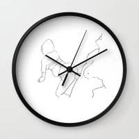 erotic Wall Clocks featuring Erotic Lines Three by Holden Matarazzo