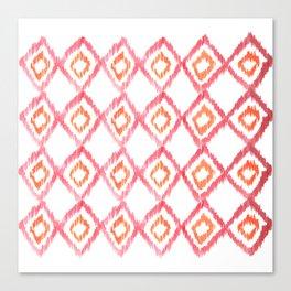 Fiery Coral - aztec watercolour pattern Canvas Print