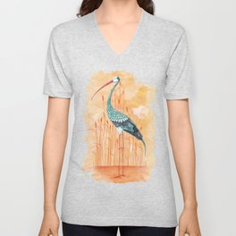 An Exotic Stork Unisex V-Neck