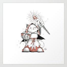 White Mage Munchkin Cat Art Print