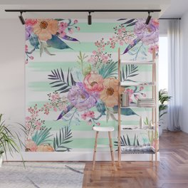 Watercolor Boho floral, tropical leaves, stripes hand paint Wall Mural