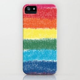 LGBTQ+ Pride Flag Crosshatch Design iPhone Case