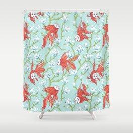 Goldfish, Mask and Magnolia Pattern Shower Curtain