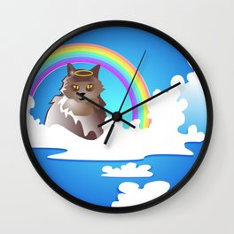 Momma Kitty & Rainbow Bridge Wall Clock