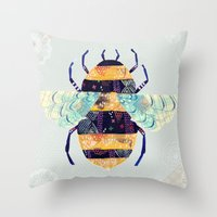 bee Throw Pillows featuring bee by Yellow Button Studio