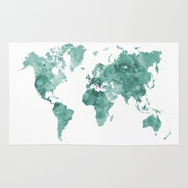 World map in watercolor green Rug