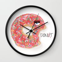 donut Wall Clocks featuring DONUT by Analy Diego