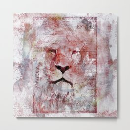 Watercolor Lion Vintage Africa Illustration Metal Print
