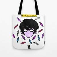 "death note Tote Bags featuring death note L ""the whole world is a joke"" by Frank Odlaws"