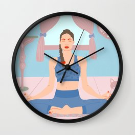 Meditation with a cat Wall Clock